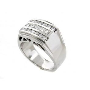 Princess and Round Diamond Men's Ring