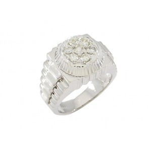 14K Mens Diamond Rolex Style Ring