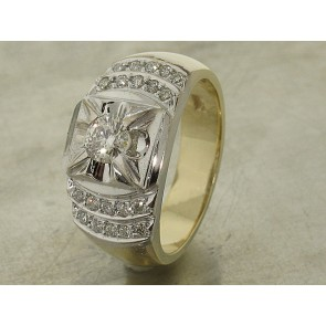 Vintage Gold and Diamond Ring for Men