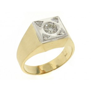 Clasic Mens Gold and Diamond Ring