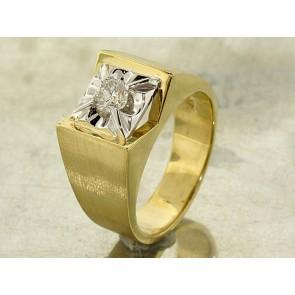 Vintage Two-Tone Gold Men's Diamond Ring