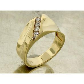 Diamodn Gold Wave Ring for Men