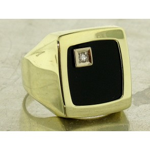 Vintage Onyx and Diamond Gold Men's Ring