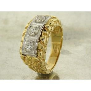 Vintage Diamond Gold Nugget Ring