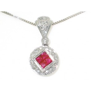 18K Ruby & Diamond Pendant