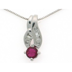 18K Ruby& Diamond Pendant