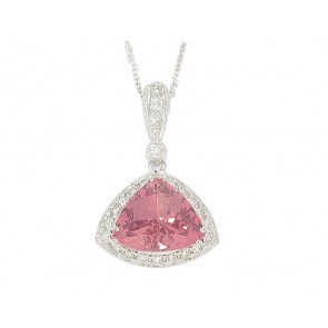 18K Diamond and Pink Tourmaline Pendant
