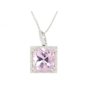 18K Kunzite and Diamond Pendant