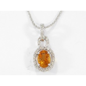 18K Mandarin Garnet and Diamond Pendant