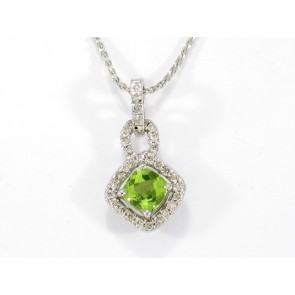 18K Peridot and Diamond Pendant
