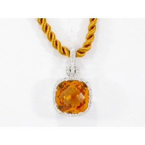 18K Citrine and Diamond Micro Pave Pendant