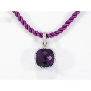 18K Amethyst and Diamond Micro-Pave Pendnat
