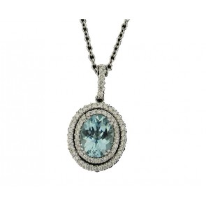 18K Aquamarine and Diamond Pendant
