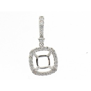 18K Prong-Set Diamond Pendant Semi-Mount