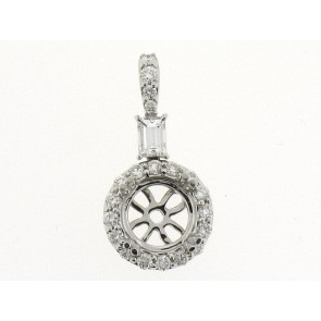 18K Round and Baguette Diamond Pendant Semi-Mount