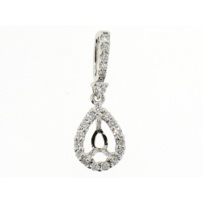 18K Pear Shape Diamond Semi-Mount Pendant