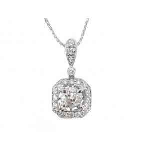 18K Square Shape Diamond Semi-Mount Pendant