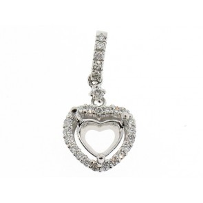 18K heart shape diamond semi-mount pendant
