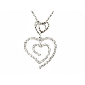 1/3CT Double Heart Diamond Pendant