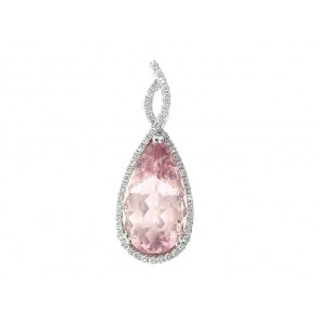 18K Morganite and Diamond Pendant
