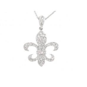 14K Diamond Fleur de Lis Pendant, 1.11ct