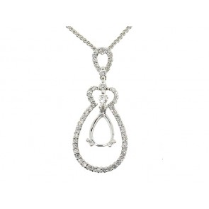 Modern Pear Shape Diamond Semi-Mount Pendant