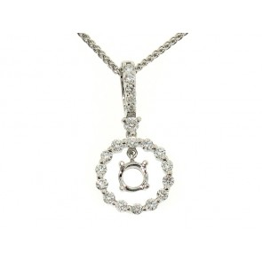 Large Halo Diamond Pendant Semi-Mount