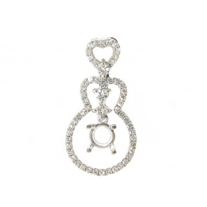 18K Round Diamond Pendant Semi-Mount