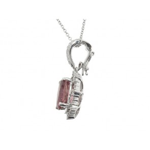 2.27ct Pink Tourmaline and Diamond Pendant
