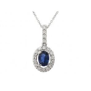 1.08ct Sapphire and Diamond Pendant