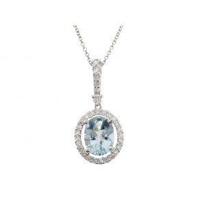 1.84ct Aquamarine and Diamond Pendant