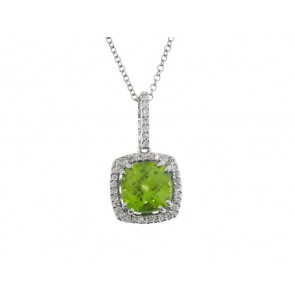 1.72ct Peridot and Diamond Pendant