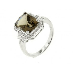14K Smokey Topaz and Diamond Ring