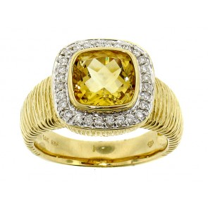 14K Diamond and Citrine Ring