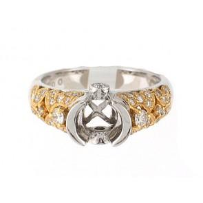 Round Bezel Diamond Two-tone Engagement Ring