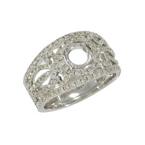 Diamond Round Halo Semi-Mount Ring