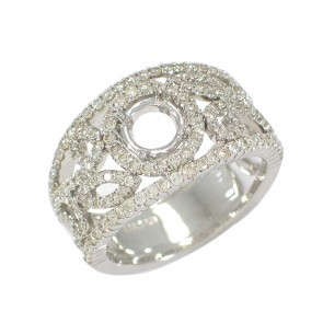 Diamond Round Halo Center Leaf Motif Band