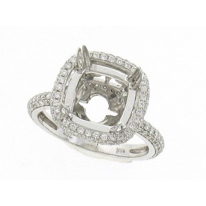 Pave Set Halo Engagment Ring