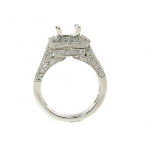 Square Halo Diamond Engagement Semi-Mount Ring