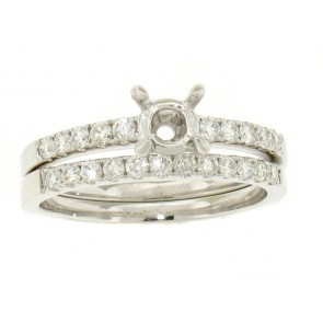Shared ProngDiamond Engagement Ring and Matching Band
