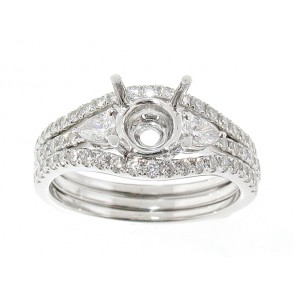 Round and Pear Shape Matching Set Engagement Ring