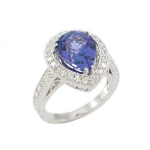 18K Pear Shape Tanzanite and Diamond Ring