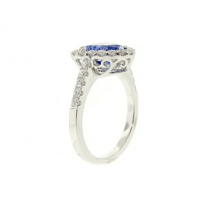 1.92ct Trillion Cut Tanzanite and Diamond Ring
